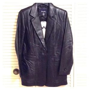 DENIM & CO. Black Leather One Button Blazer Sz. XS